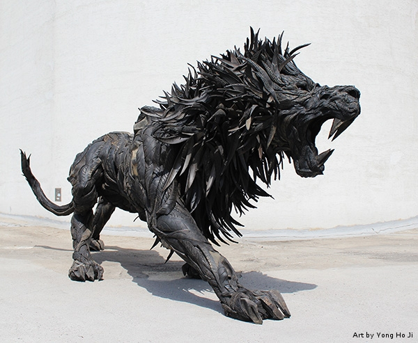 recycled tire animal sculpture