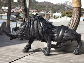 car tire recycling sculpture