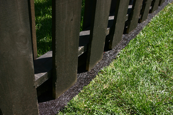 recycled rubber fence border
