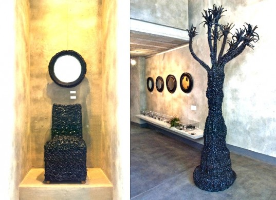 recycled tire tree and chair sculpture