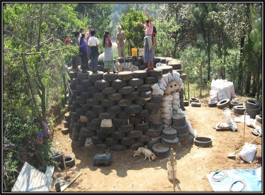 used tire playground castle